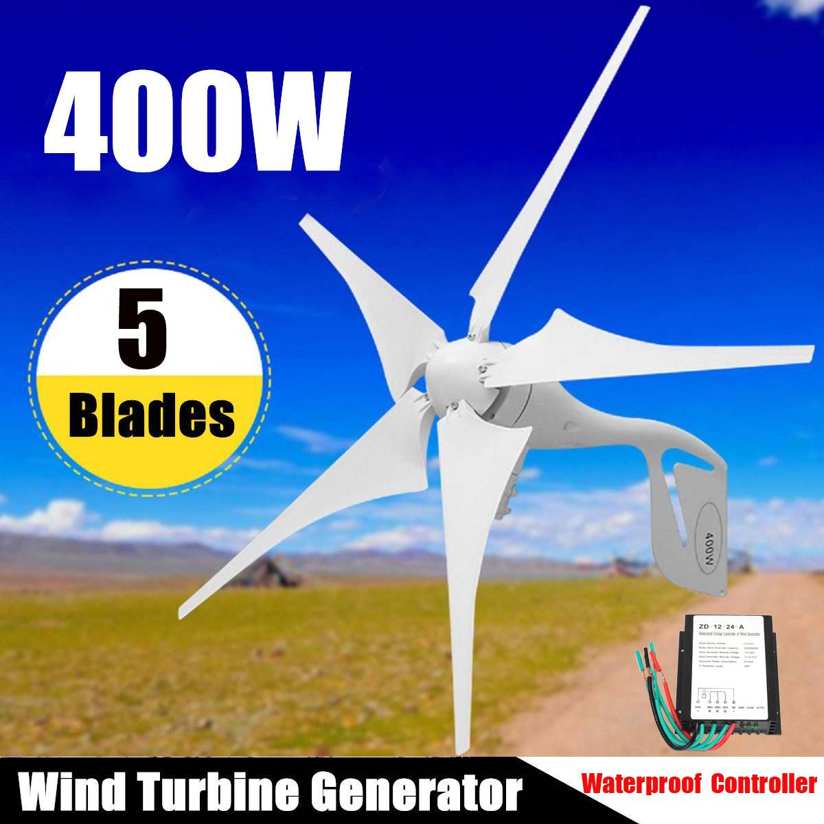 Wind Turbine 400W Wind Power Generator 5 Blades + DC 12V/24V Waterproof Charge Controller 300/600W Wind Energy Turbine GeneratorWind Turbine 400W Wind Power Generator 5 Blades + DC 12V/24V Waterproof Charge Controller 300/600W Wind Energy Turbine Generator