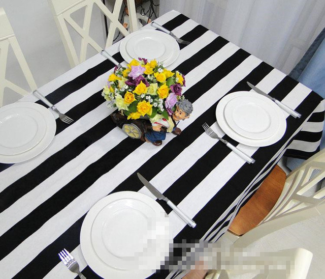 Free Shipping Black And White Striped Tablecloth Kitchen 100%canvas Table  Cloth Rectangular Many Sizes