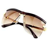 サングラス女性半リムレスフレームブランドデザインビジネスサングラス女性男性ユニセックス 6 色 UV400