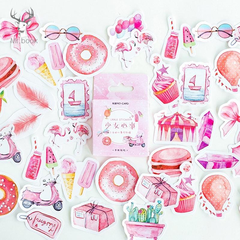 46Pcs/Box Sweet Pink Creative Donut Ice Cream Paper Sticker Package DIY Girl Diary Decoration Sticker Album Scrapbooking