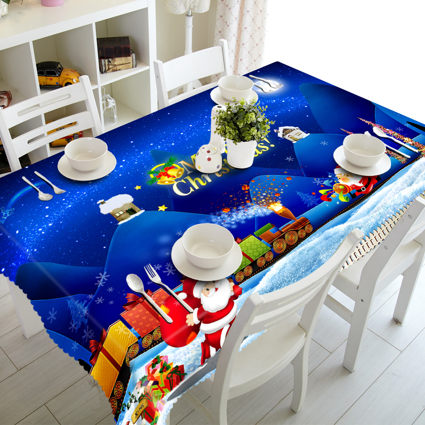 Blue Christmas Night tablecloth Cartoon Santa 3D Table Cloth Thicken Polyester Round Dining Table Cover Decorative