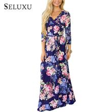 Seluxu Summer Dress For Women 2019 3/4 Sleeve V Collar Maxi Dress  V-Neck Floor Length Beach/Party Dress stylish plunging neck 3 4 sleeve wave printed maxi dress for women