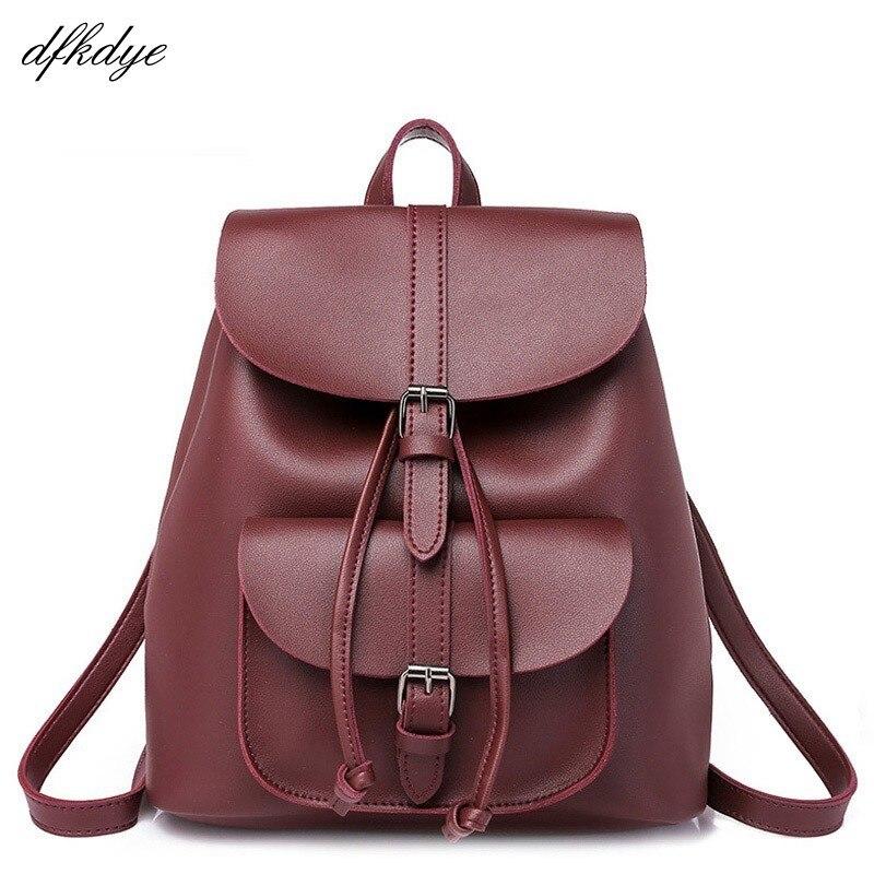 Teenage Girls Female Backpacks Women Backpack Vintage Leather Drawstring School Bag Black Rucksack Brand Shoulder Bags Backbag