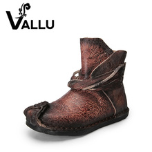 VALLU 2018 Genuine Leather Women Boots Tassel Handmade Vintage Comfortable Shoes Woman Flat Ankle Boots