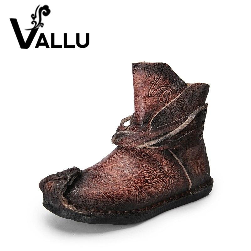 VALLU 2018 Véritable Cuir Femmes Bottes Gland À La Main Vintage chaussures confortables Femme Plat bottines