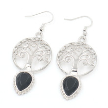 FYJS Unique Silver Plated Tree of Life  Water Drop Earrings Black Agates Temperament Jewelry