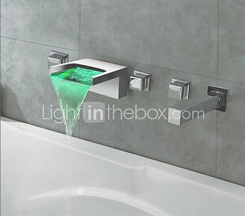 Thermochromic Chrome Finish LED Waterfall Bathroom Tub Faucet
