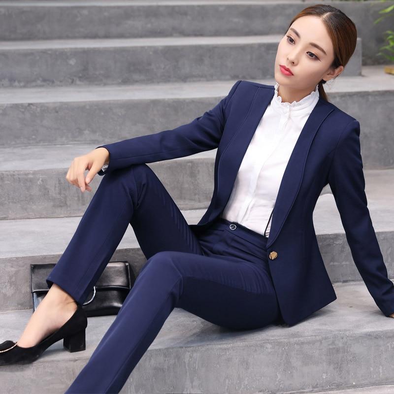 Ladies Pant Suits For Women Autumn Fashion Slim Business Office 2 Pieces Trouser Suit