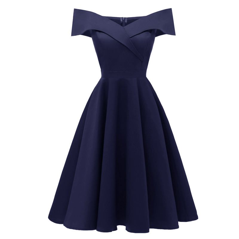 2018 Vintage Tunic Solid Dress Female Robe Casual 1950s 60s Rockabilly Sleeveless Slash Neck Swing Summer Dresses