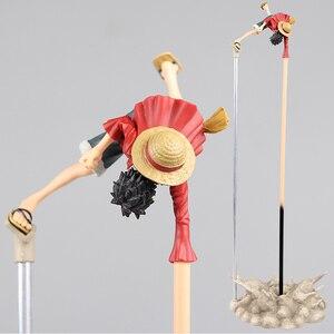 Image 2 - Yeni varış Anime aksiyon figürü tek parça oyuncak Luffy kauçuk tabancası uzun el standı baş aşağı Ver 35CM modeli PVC savaş oyuncak toplamak