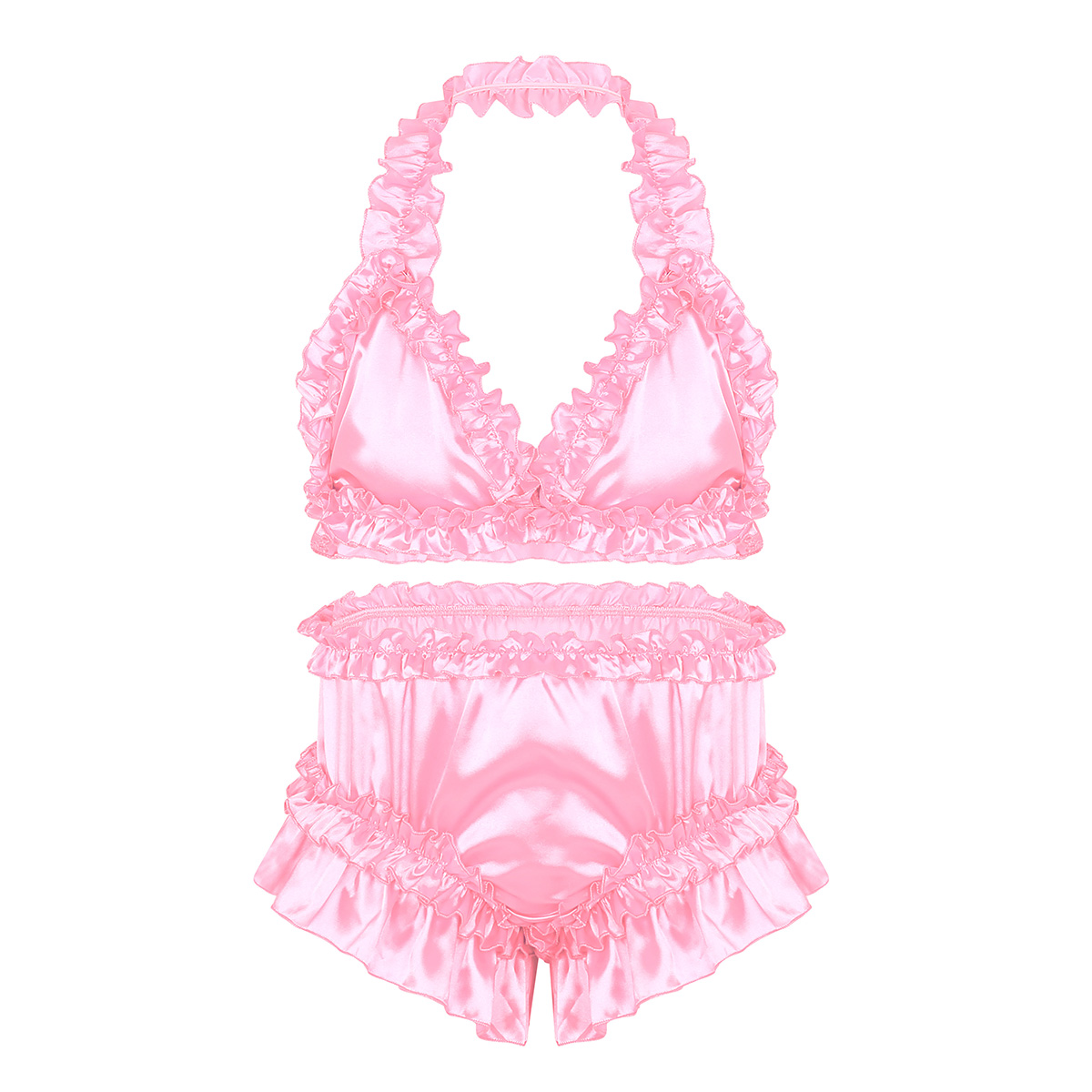 Mens Satin Sissy Frilly Ruffled Elastic Lingerie Set Bikini Bra Top Crossdress