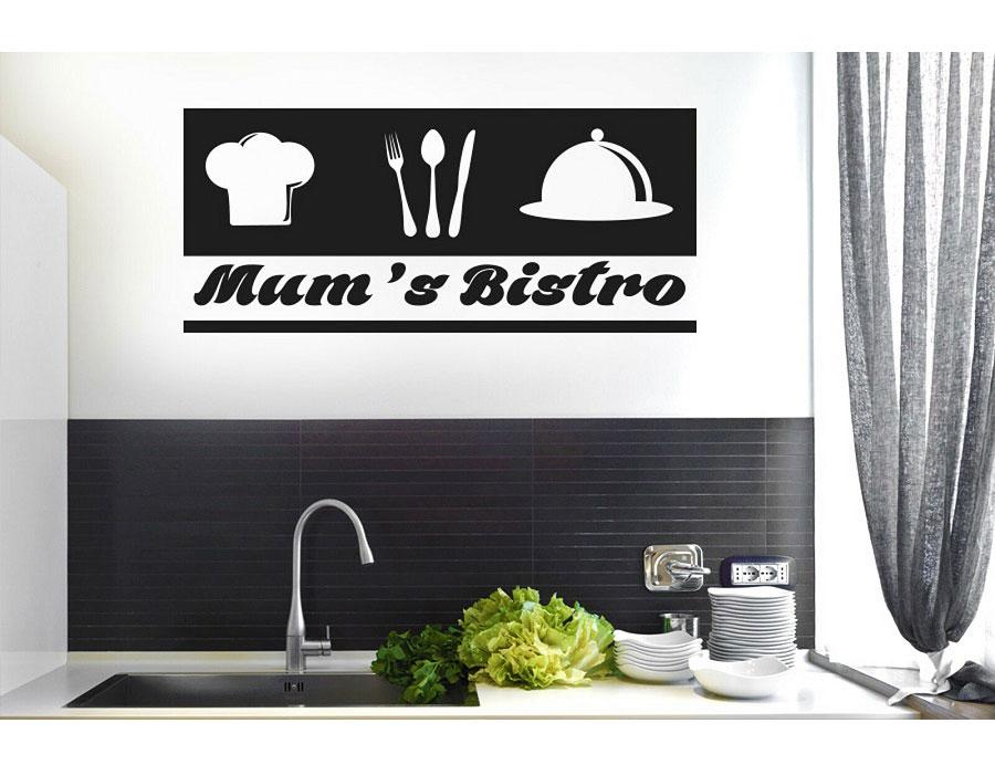 Customizable slogan cutlery chef icon vinyl sticker kitchen restaurant home decoration wall stickers DIY removable CF17-in Wall Stickers from Home & Garden