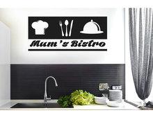 Konfigurowalny slogan sztućce ikona szefa kuchni naklejka winylowa kuchnia restauracja dekoracja wnętrz naklejki ścienne DIY wymienny CF17