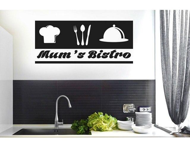 Personalizado slogan talheres chef ícone vinil adesivo cozinha restaurante decoração de casa adesivos parede diy removível cf17