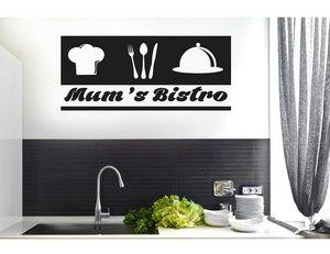 Image 1 - Özelleştirilebilir sloganı çatal şef simgesi vinil yapışkan mutfak restoran ev dekorasyon duvar çıkartmaları DIY çıkarılabilir CF17