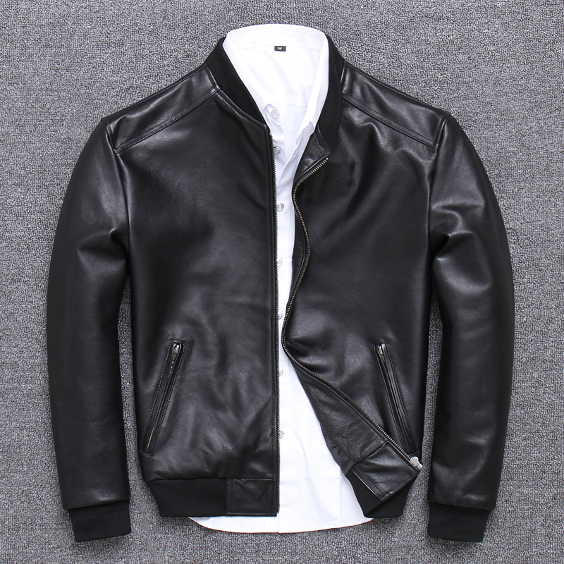 2019 Mens Leather Jacket Sheepskin Coat Genuine Leather Jacket Men Spring Autumn Plus Size Light Bomber Jacket U 352 KJ2282