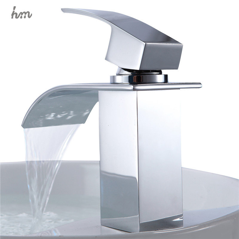 Waterfall Sink Faucet Chrome Single Handle Single Hole Mixer Bathroom Taps Widespread Basin Faucets Origin Guandong China in Basin Faucets from Home Improvement
