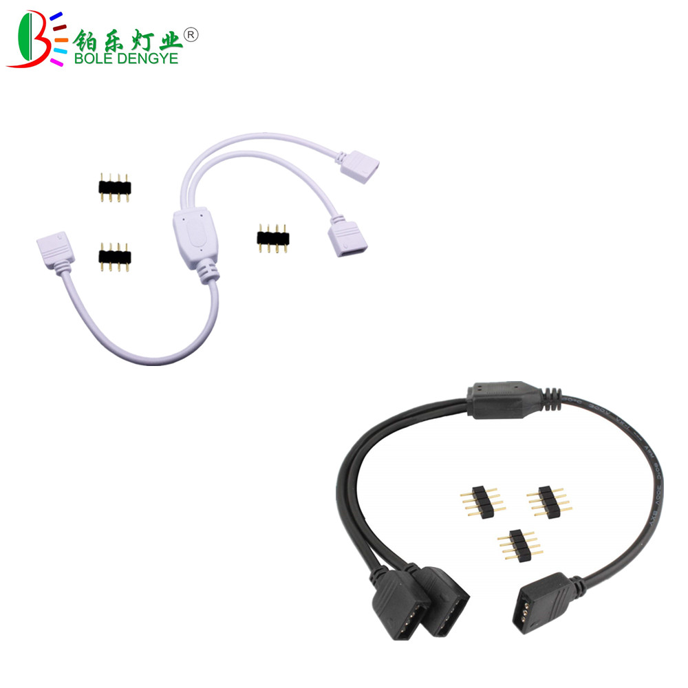1pcs 30cm <font><b>4PIN</b></font> RGB Splitter Extension <font><b>Cable</b></font> 1 to 2 3 4 way Y Shape Cord Wire LED Strip Connector For 2835 5050 RGB LED Strip image