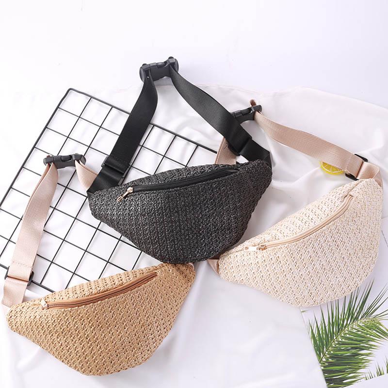 Straw Women Waist Pack Bag Belt Female Handmade Rattan Design Summer Beach Bags 2019 Travel Fanny Pack Girl Chest Pack Purses