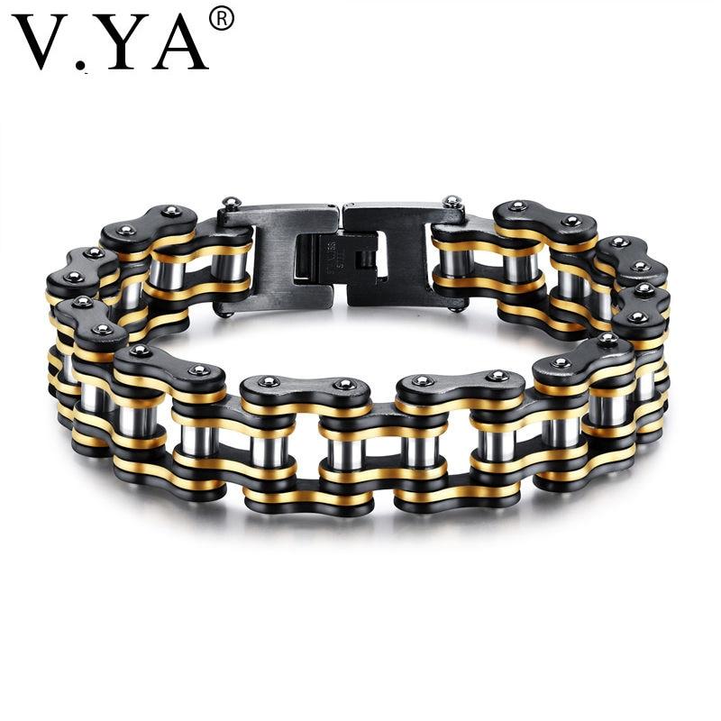 V.YA Punk Stainless Steel Bracelets Men Biker Bicycle Motorcycle Chain Man Bracelets & Bangles 2018 Fashion Jewelry Charm Gifts