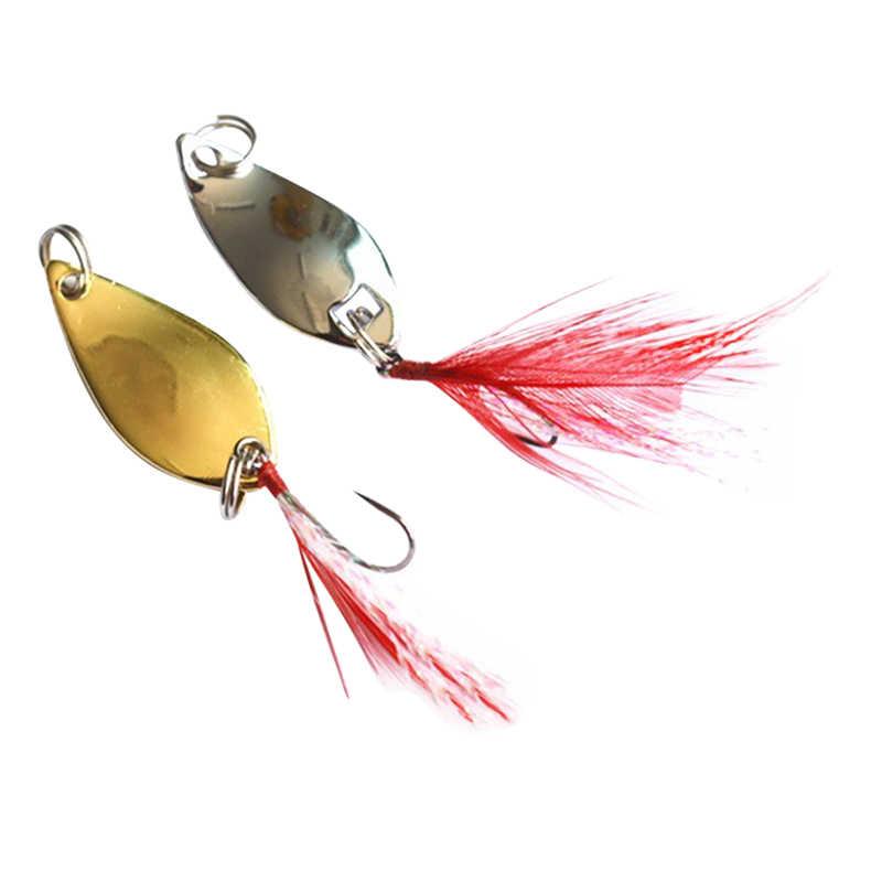 Longue grenaille leurre de pêche Shine Metal Peche 2.5g 3.5g 5g vol dur leurre avec plume Wobbler carpe matériel de pêche Spinner
