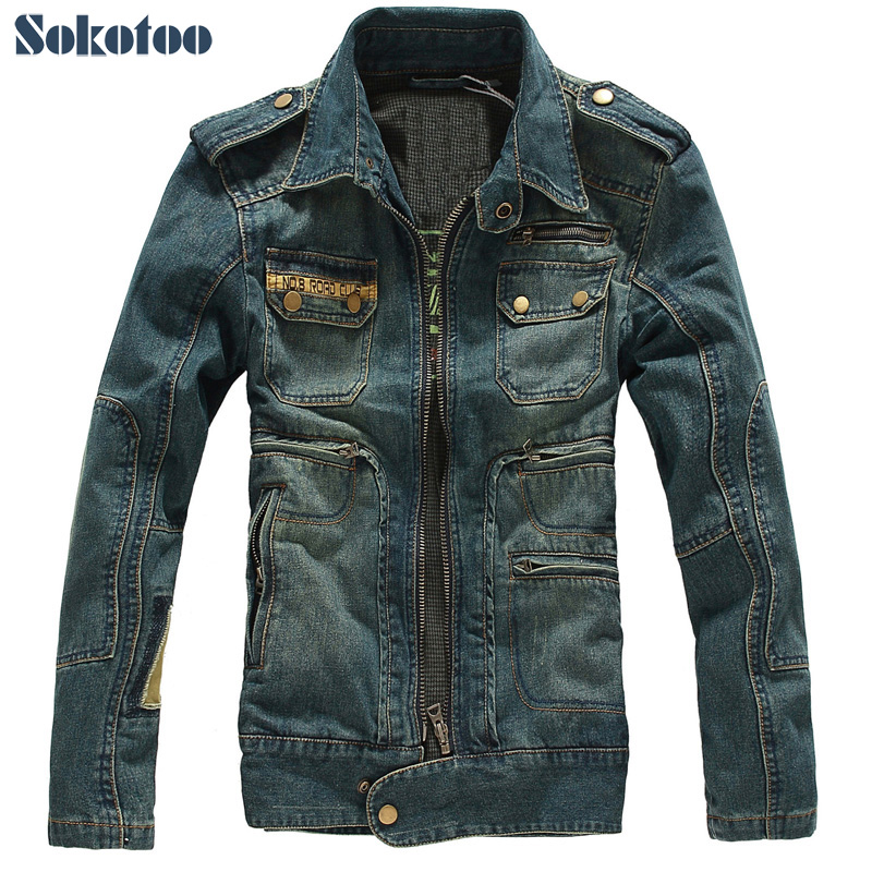 Sokotoo Men s slim denim outerwear male thickening coat casual epaulet jacket men s clothing