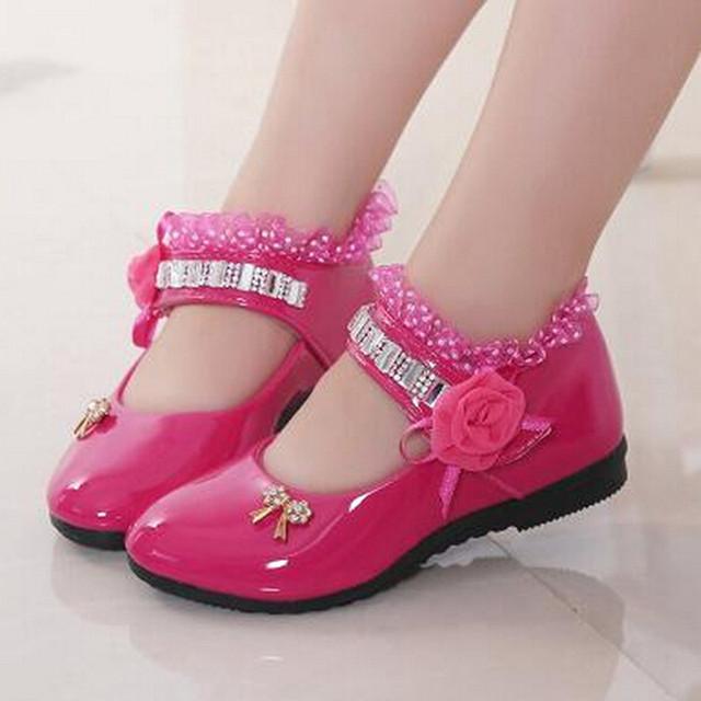 Flores Meninas Sapatos 2016 PU de Couro Strass Sapatos de Casamento Do Partido Dos Miúdos Da Princesa Meninas Vestido de Renda Preta Sapatos Chaussure Enfant