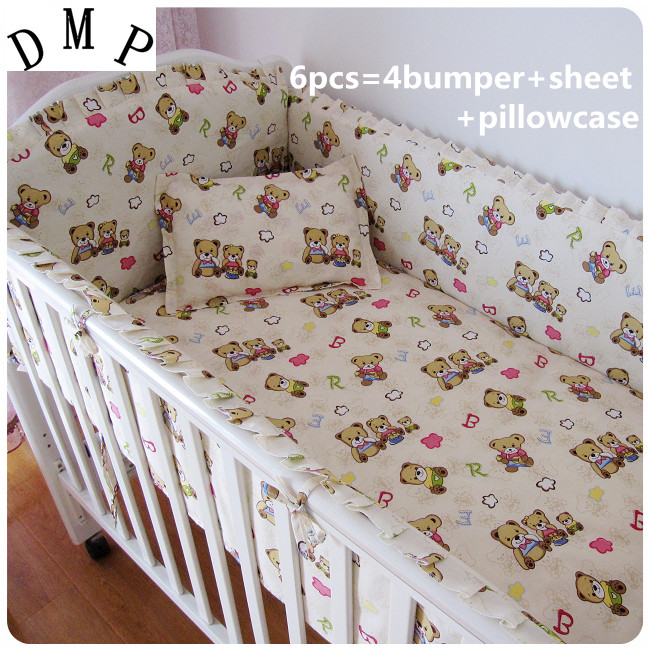Promotion! 6pcs Bear Baby bedding kit bed around pillow piece set(bumpers+sheet+pillow cover)