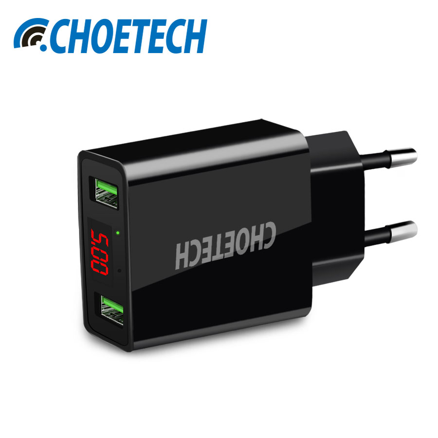 CHOETECH Universal Travel Wall Charger 5V 2.2A LED Display 2 USB Fast Charging Mobile Phone Charger For Xiaomi All Smartphone
