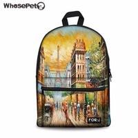 WHOSEPET Women Backpack Eiffel Tower Print Rucksack Teenager Girls Daily Bagpack Preppy Style Student School Bag Travel Daypack