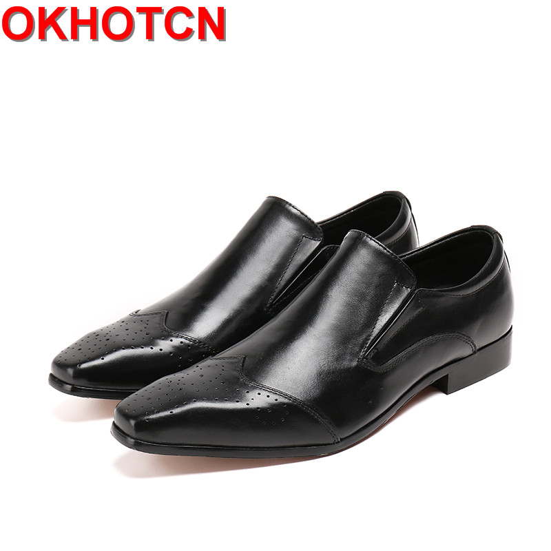OKHOTCN Men Loafers Slip On Casual Spring and Autumn Mens Moccasins Shoes classical black Genuine Leather Men's Flats Shoes 2017 brand new spring men fashion loafers shoes slip on flats genuine leather shoes young men breathable casual shoes wa 32