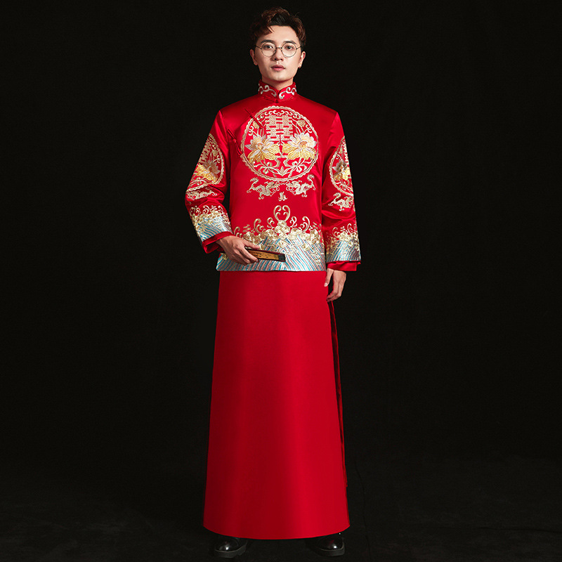 Kimono Wedding Gown: Show Mens Chinese Style Wedding Gown Red Embroidery Groom