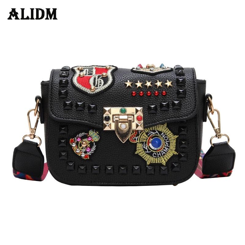 Fashion Flap Leather Women Messenger Bag Mini Brand Badge Crossbody Bags Women New Colorful Strap Ladies Shoulder Bag Rivet 2018