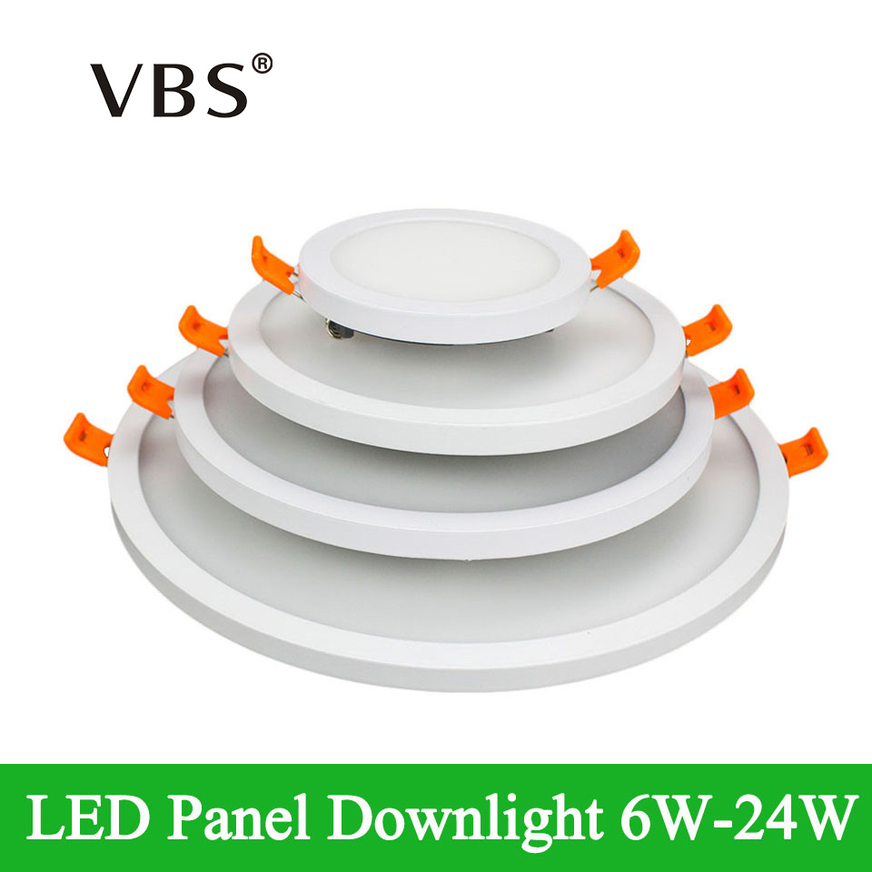 Dimmable LED Panel Light 6W 12W 18W 24W Ultra Thin Frame Led Panel Down light Square Round Led Ceiling Lamp AC 85-265V led lamp