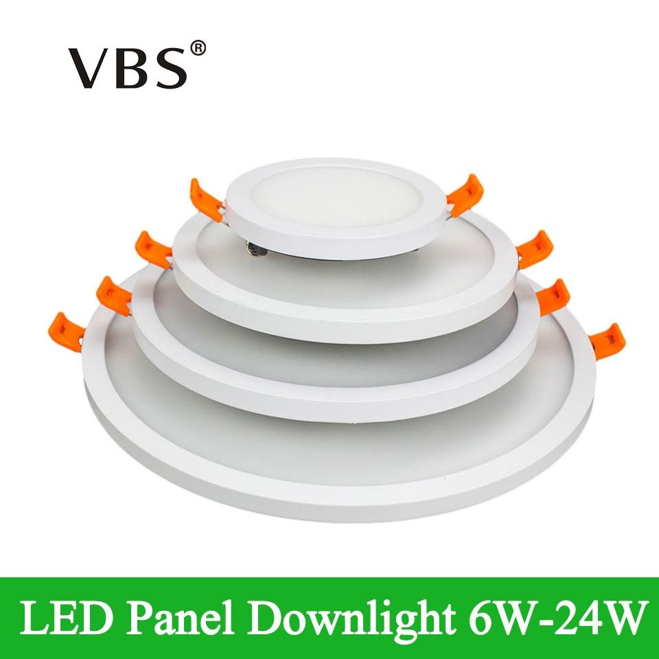 Dimmable LED Panneau Lumineux 6 W 12 W 18 W 24 W Ultra Mince Cadre Led panneau Down light Carré Rond Led Plafonnier AC 85-265 V led lampe