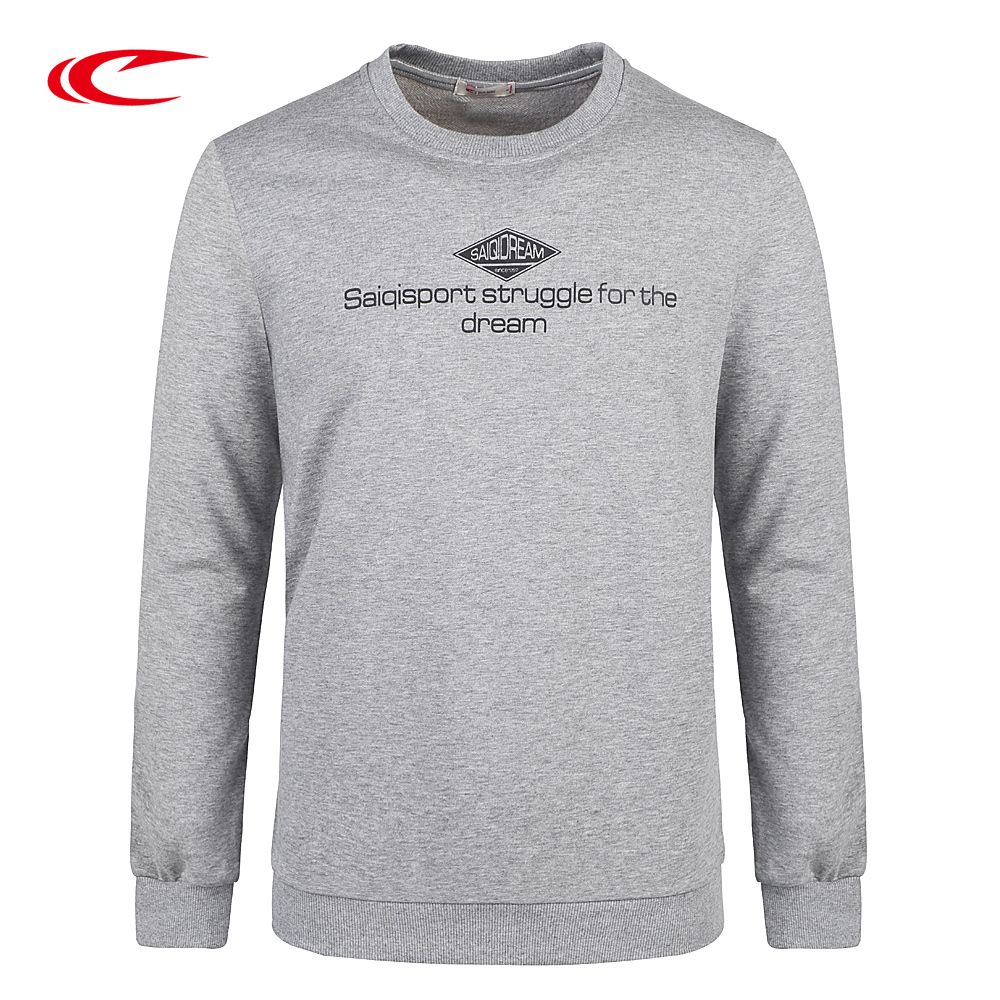 SAIQI Men Cotton Training Sweaters Letters Printed Round Neck Sweatshirt Long Sleeve Sweaters For Exercise Basketball Running