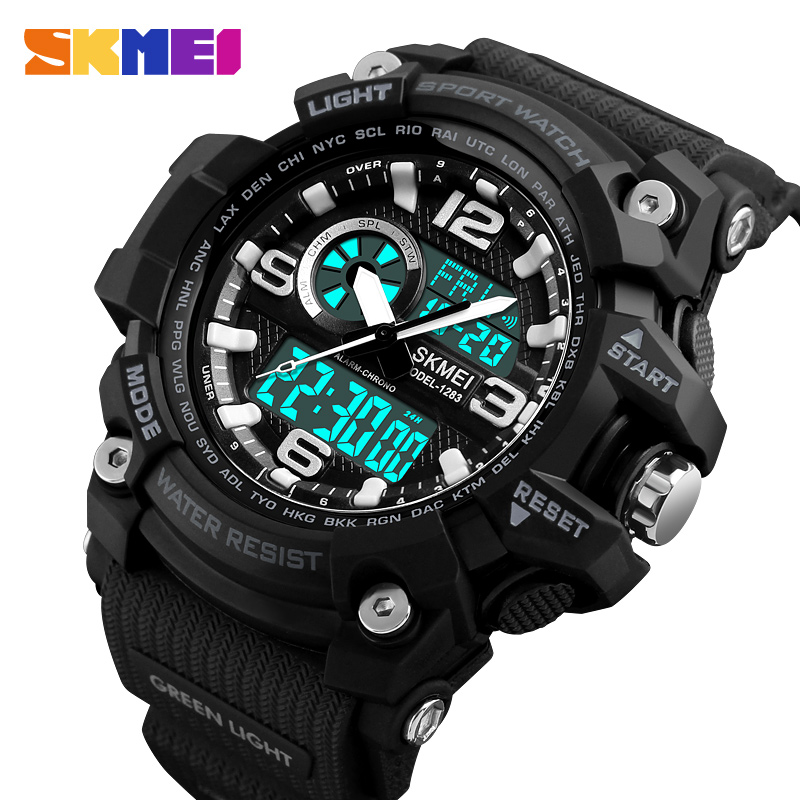SKMEI Top Brand Luxury Sport Watch Men Military 5Bar Waterproof Quartz Watches Dual Display Wristwatches Relogio Masculino 1283