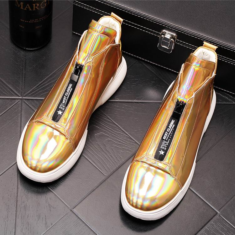 ERRFC Luxury Men's Gold Leisure Shoes Fashion Designer High Top Zip Man Casual Comfort Shoes For Show White Vogue Party Shoes 43 7