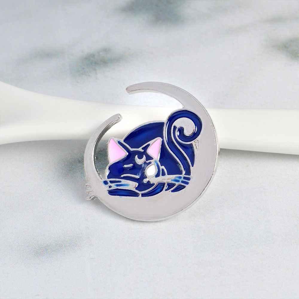 1 Pcs Indah Alloy Moon Biru Kucing Pola Enamel Bros Pin Lencana Anak-anak Hadiah Fashion Perhiasan Hot Sale Bros Mujer