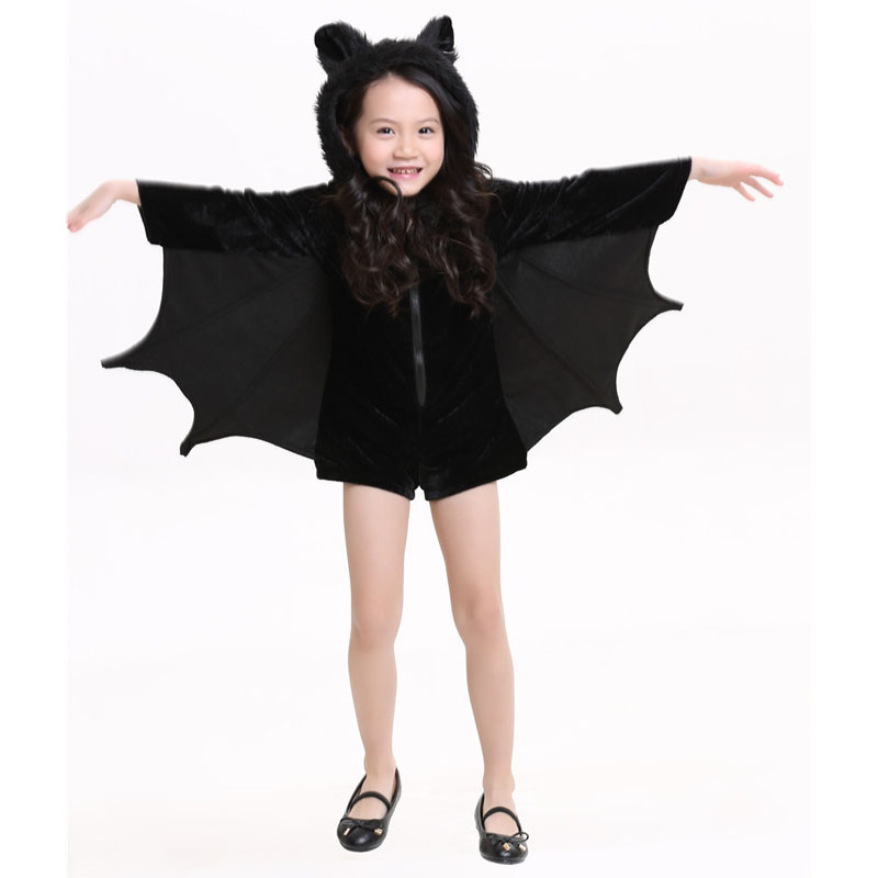 Neutral children Girls Jumpsuits Bat Costume Halloween cosplay Stage performance Zipper Jumpsuit Connect Wings Batman Clothes