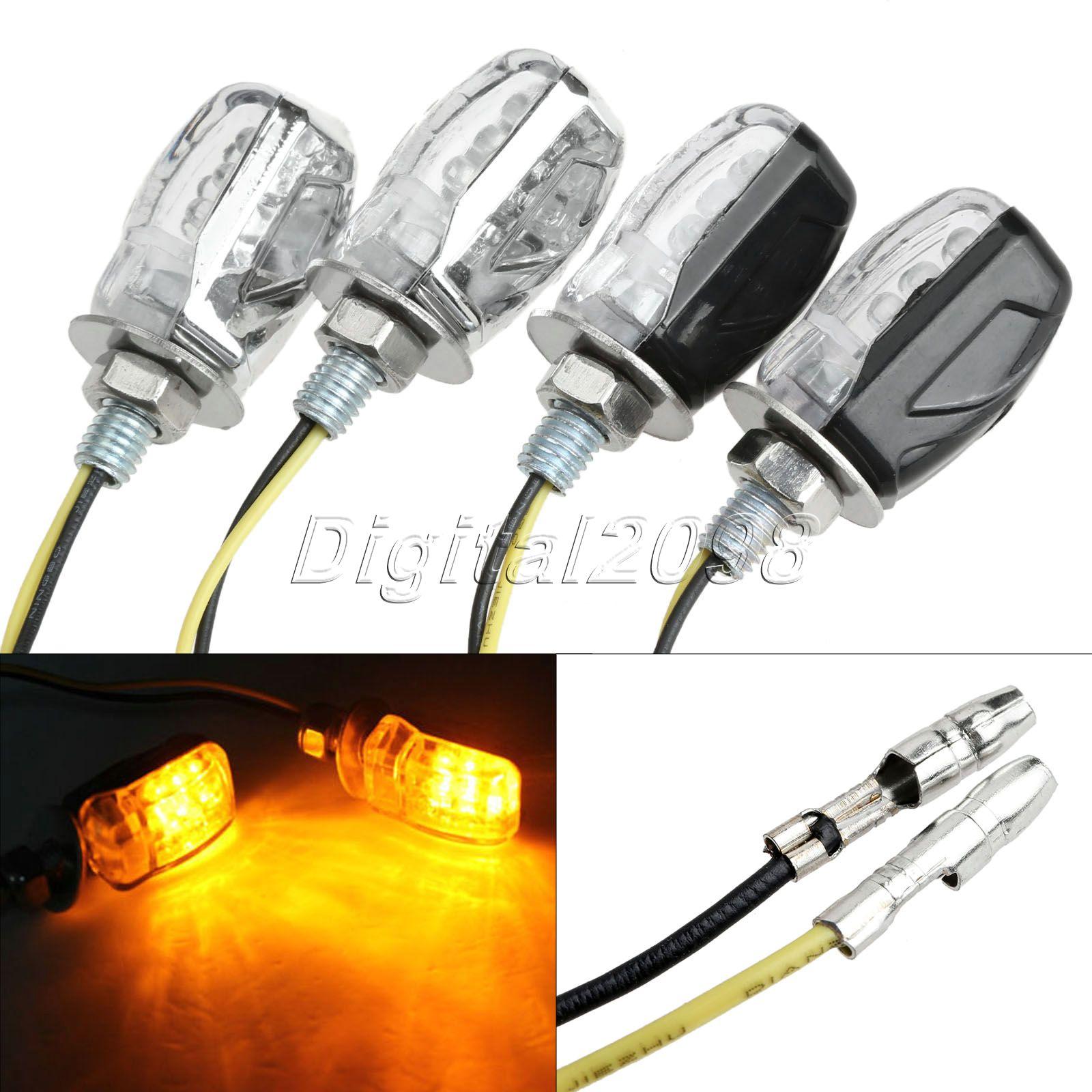 2x Motorcycle 6 LED Turn Signal Indicator Light Amber Blinkers Flashers For Ducati Harley Davidson Honda Kawasaki Suzuki Yamaha