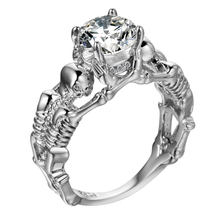 UFOORO Ghost evil Skull skeleton Hand CZ Ring European and American Punk style Motor Biker Men 2017 new skull mens jewelry