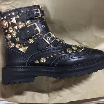 BuonoScarpe British Style Women Punk Boots Black Motorcycle Ankle Boots Buckle Strap Botas Gold Metal Rivets Studded Chic Boots