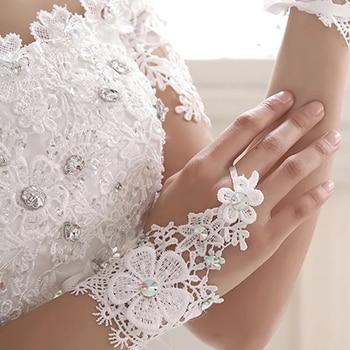 2019 Elegant Lace Short White Fingerless Fashion Flower Girl kid Child Student Party Performance Dancing Wedding Gloves