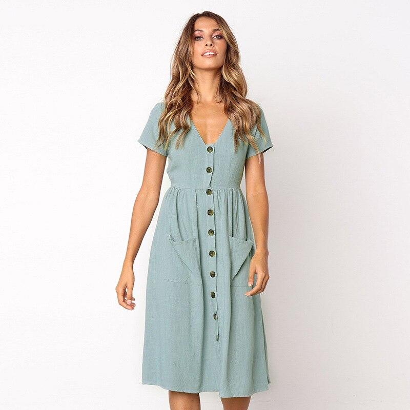Moda mujer verano elegante vestidos de manga corta V cuello botón decorativo Swing Midi con bolsillos
