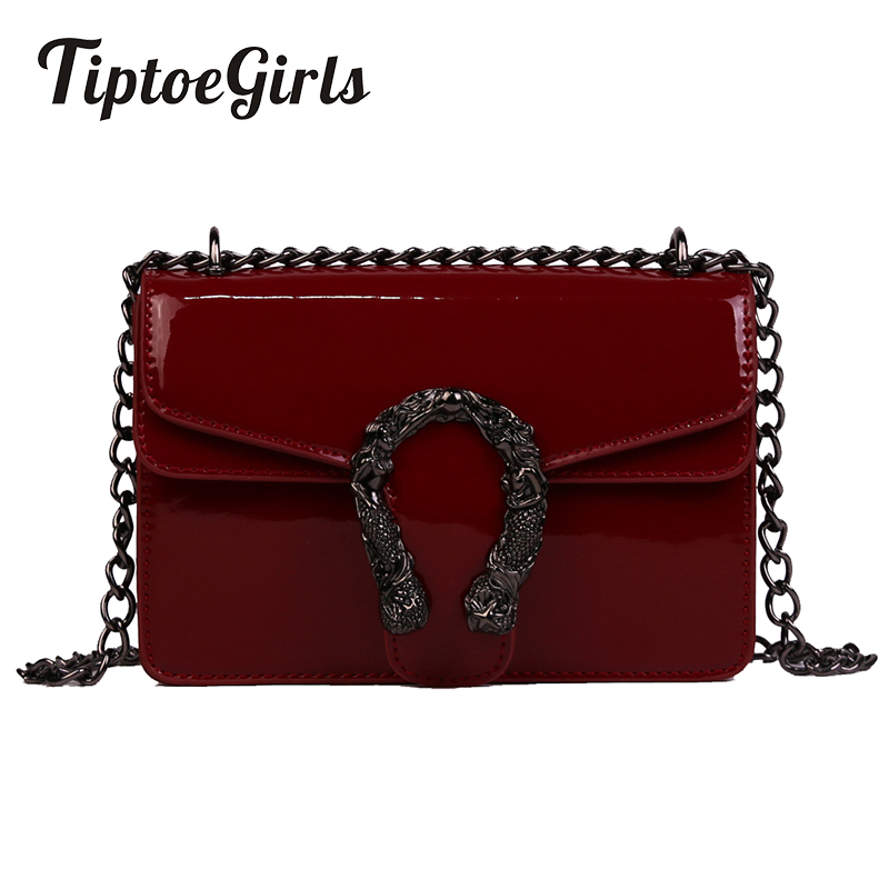 New Fashion Mini Flap Bag Personality Patent Leather Small Women Shoulder Bag Casual Temperament Chain Bag Dropshipping