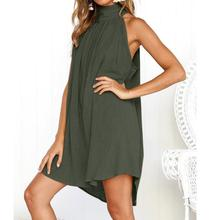 new  style arrival O-Neck female dress sexy loose solid sleeveless draped knee-Length off the shoulder natural