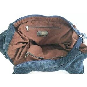 Image 5 - Ipineeファッション女性のバッグヴィンテージカジュアルなデニムハンドバッグ女性大容量ジーンズトート織りテープ創造ショルダーメッセンジャーバッグ