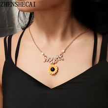 Necklace with delicate sunflower pendant fashion womens imitation pearl jewelry creative clothing accessories(China)
