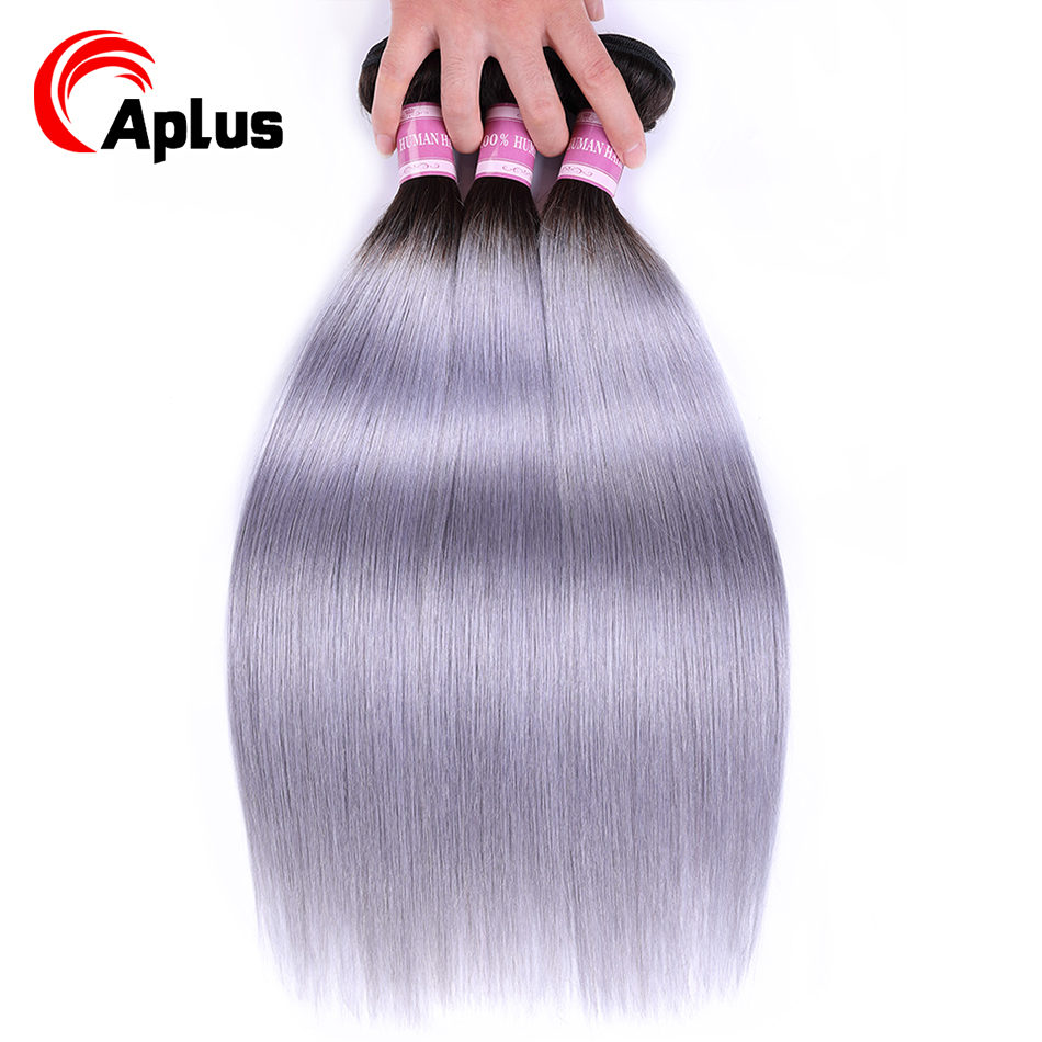 Aplus Pre-Colored Brazilian Hair Weave Bundles T1b/Grey Color Ombre Bundles Deal 3Pcs/Lot Non Remy Straight Human Hair Extension